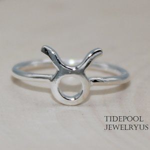 Sterling Silver Zodiac sign Taurus Ring